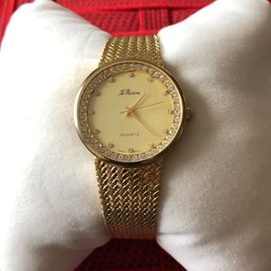 Le Baron Quartz Gold Toned Men's Watch ~ I.D. ENT